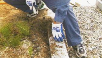 3外柵のハメ石を取り除く