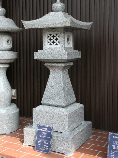 墓前灯篭  4尺角型2重台反柱(1対)